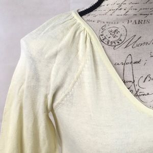 Express Sweaters - Express yellow v-neck sweater, pleated shoulder